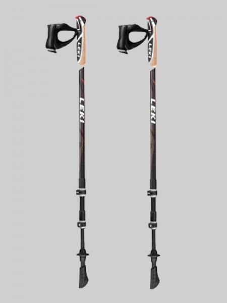 Leki Nordic Walking Traveller Carbon 62-130 cm Stocklänge-schwarz/orange