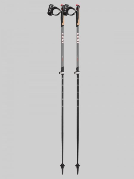 Leki Nordic Walking Supreme Shark 100-130 cm Stocklänge - grau/rot
