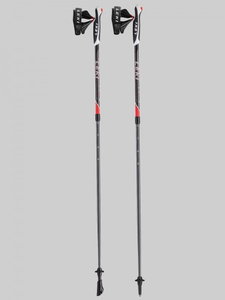 Leki Nordic Walking Spin 100-130 cm Stocklänge - black/anthr./white/red