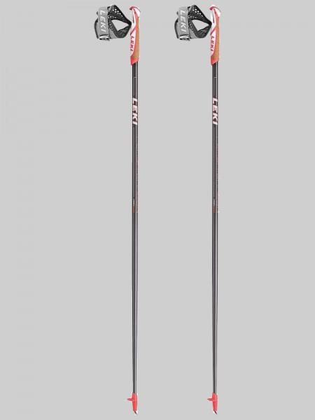 Leki Nordic Walking -Flash Carbon - Stocklänge -anthrazit/rot/weiß