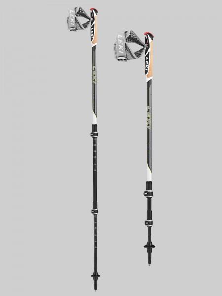 Leki Nordic Walking Traveller Carbon 90-130 cm Stocklänge - anthr./white/limegr
